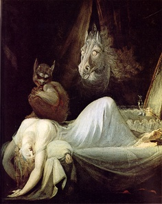 """Altra versione del dipinto """"L'incubo"""" di Fussli, in cui si vede il demone della paralisi del sonno"""