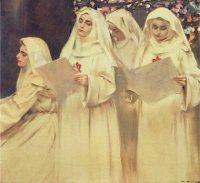suore vestite di bianco che cantano