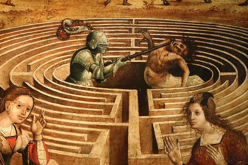 teseo sconfigge il minotauro, il mostro del labirinto